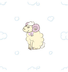cute lamb girl in the clouds vector image