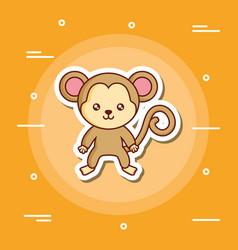 Cute monkey icon vector