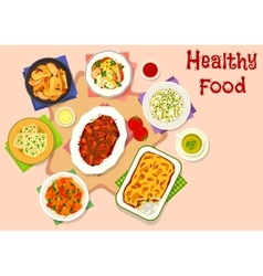 Dinner menu with healthy dessert icon vector