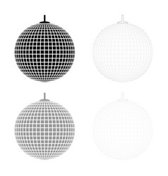 Disco sphere suspended on line rope discotheque vector