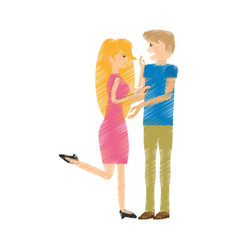 drawing couple happy romantic vector image