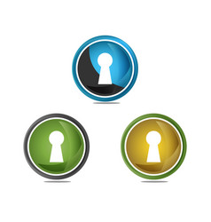 elegant key hole logo design vector image