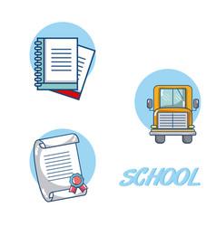 Elementary school icons vector