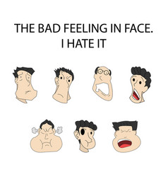 Face expressionthe bad feeling - on shadow vector