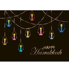Falt design style Happy Hanukkah logotype badge vector image