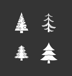 fir tree icon set grey vector image