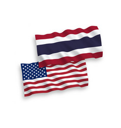 Flags thailand and america on a white vector