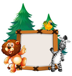 Frame template with lion and zebra vector