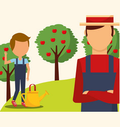 gardeners man and boy with watering can and apple vector image