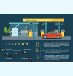 Gas filling station with red car vector