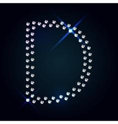 Gems d letter shiny diamond font vector