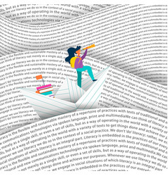 girl sailing paper boat in education sea concept vector image