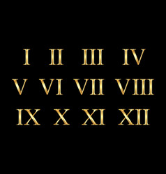 gold roman numerals set collection isolated vector image