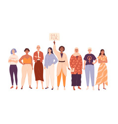 group diverse women in full length beautiful vector image