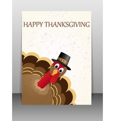 Happy Thanksgiving celebration card with turkey vector image