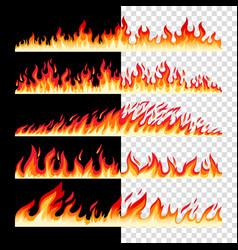 horizontal seamless fire borders vector image