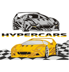Hypercars on background a racing flag vector