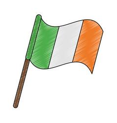 Irish flag pole scribble vector