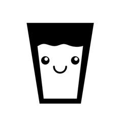 kawaii glass cup milk cartoon icon vector image