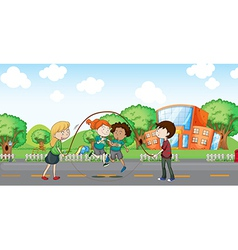 Kids playing at the road vector