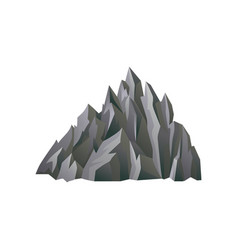 large gray rocky mountain with lights and shadows vector image