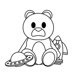 Line teddy bear with rocket and ufo toys vector