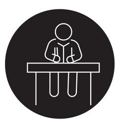 man sitting at office desk black concept vector image