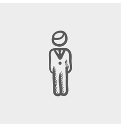 Man standing sketch icon vector