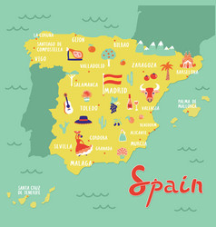 Map of spain with landmarks people food and vector