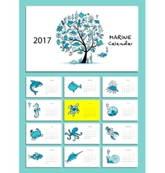 Marine tree Design calendar 2017 vector image