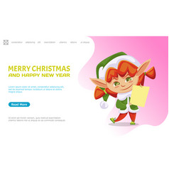 merry christmas and happy new year female elf vector image