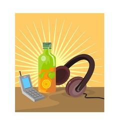 Mobile Phone Soda Drink Headphone Retro vector
