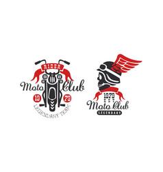 moto club retro logo templates set legendary vector image