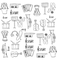 Music element doodles set on white backgrounds vector image