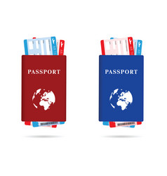 Passport red and blue with air ticket vector