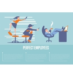 Perfect employees banner with business people vector