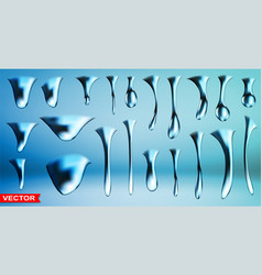 realistic blue big frozen ice water drops vector image