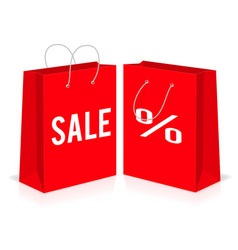 Red shopping paper empty bags with percent and vector