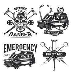 set emergency emblems labels badges vector image