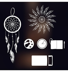 Set of icons on a theme of lucid dream and deep vector image