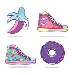 Set of pop art cartoons vector