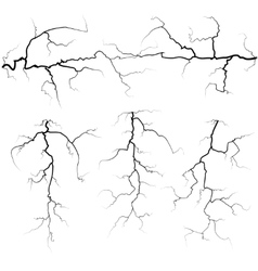 Set of thunder bolts in black isolated over white vector