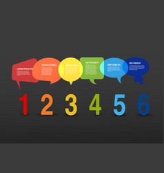 six steps template with bubbles and numbers vector image