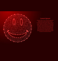 smiley face from futuristic polygonal red lines vector image