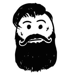 Stickman cartoon of hipster with facial tattoo vector