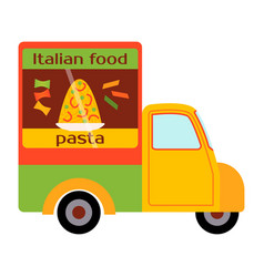 Street food festival pasta trailer vector