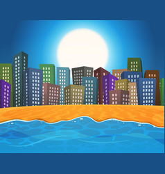 Summer beach by the city vector