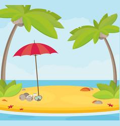 Summer holidays flat design beach and parasol vector