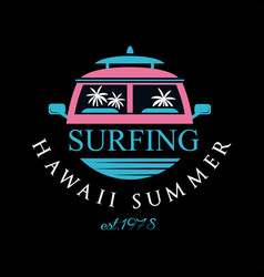 Surfing hawaii summer estd 1978 logo design vector