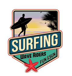 surfing travel sticker vector image